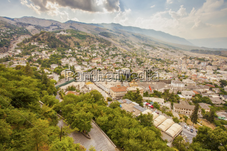 gjirokastra town cityscape top view from