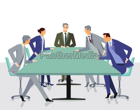 sitzung und diskussion mit mitarbeitern