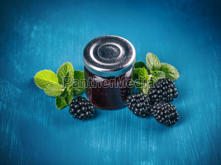 jar with blackberry jam