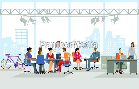 gruppe von personen am bueroarbeitsplatz illustration