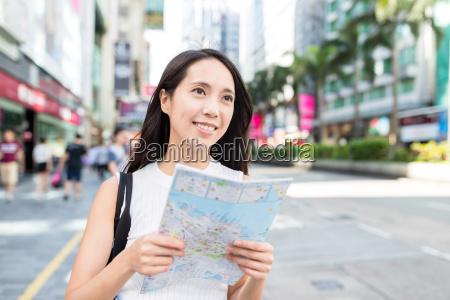 woman travel in hong kong and