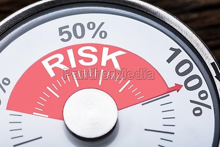 risikotext auf meter gauge
