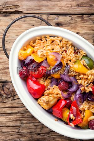 creole jambalaya with chicken and rice