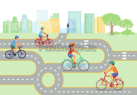 kinder verkehrserziehung mit fahrrad