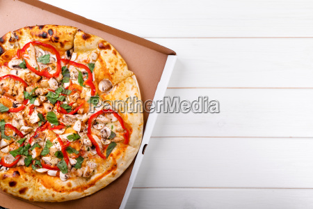 pizza with copy space on white
