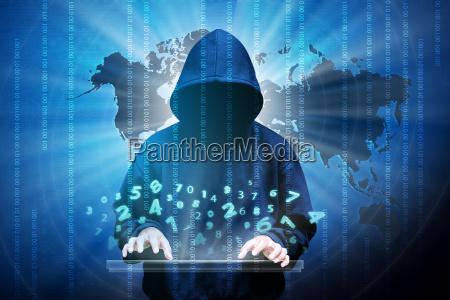 computerhacker silhouette des mit kapuze mannes