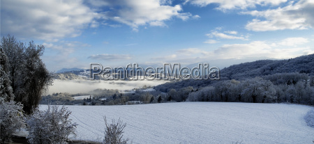 mountain landscape with snow in winter