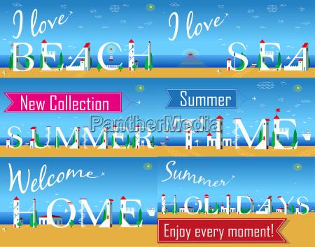 travel cards artistic font summer beach