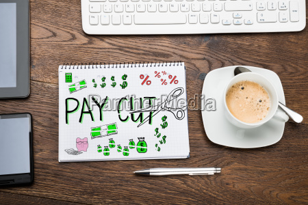 salary paycut in notepad