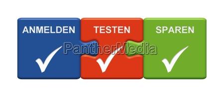 3 puzzle buttons zeigen anmelden testen