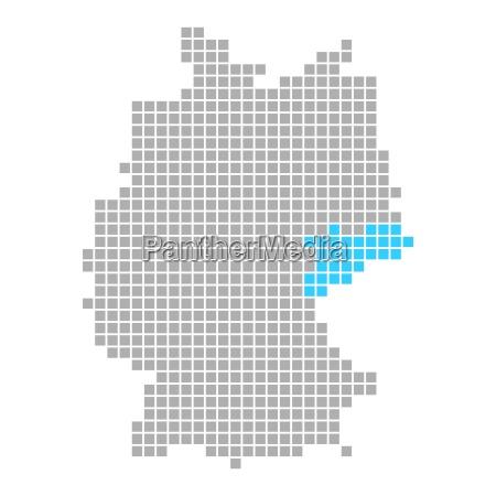 markierung von sachsen auf karte von