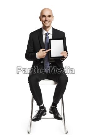 man and digital tablet