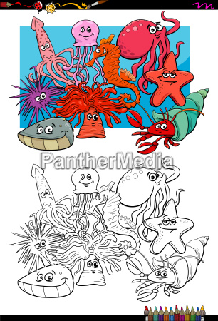 sea life animal characters coloring book