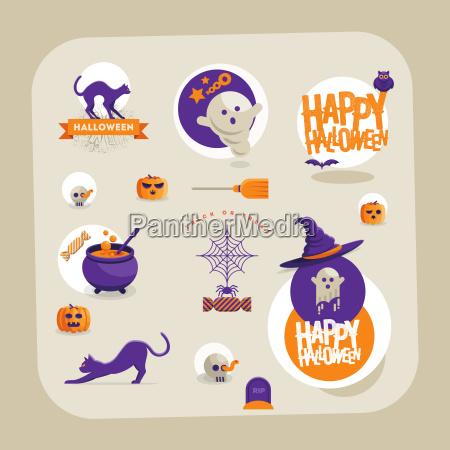 vektor halloween symbol design set