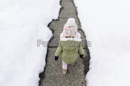 high angle view of young girl