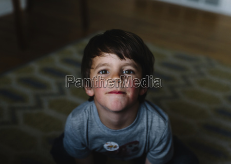 high angle view of young boy