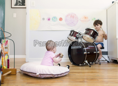 two children a boy playing the
