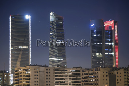 spain madrid lighted skyscrapers at financial