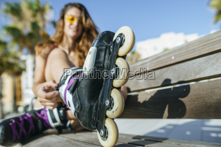 close up of woman with inline