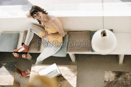 woman wearing roller