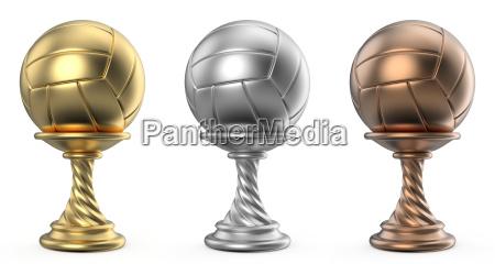 gold silber und bronzemedaillencup volleyball 3d