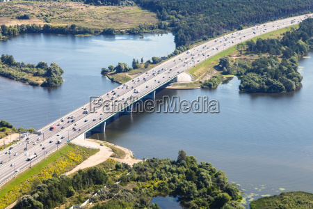 baltic highway over moskva river in