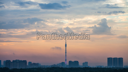 blue and pink dawning over moscow