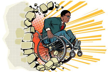 afrikanischer geschaeftsmann im rollstuhl behinderungen und