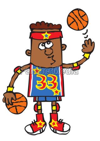 lustiger junge basketball spieler cartoon