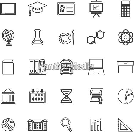 education line icons on white background