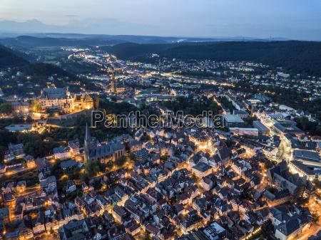 city of marburg of night germany