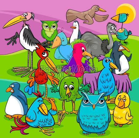 bird characters group cartoon illustration