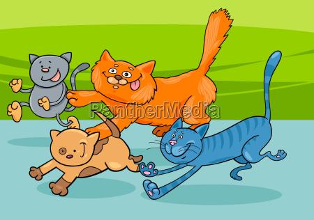 laufende katzen gruppe cartoon illustration