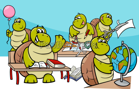 turtle pupils cartoon characters group