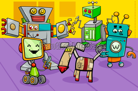 robot characters group cartoon illustration