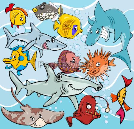 fisch cartoon tier zeichen gruppe