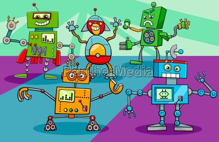 dancing robot characters group cartoon