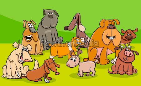 funny dogs group cartoon illustration