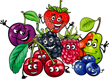 funny fruit characters group cartoon illustration