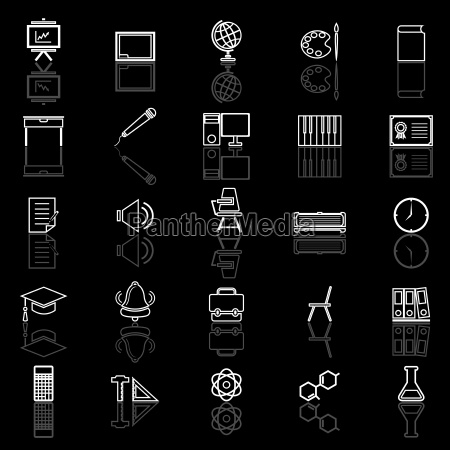classroom line icons with reflect on