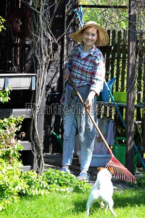 spring work in the garden woman