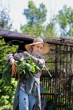 spring vegetables female gardener collects vegetables