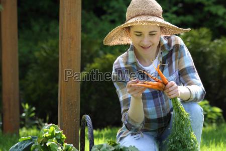 healthy diet gardener carrot in the