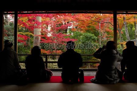 bewundern herbstfarben in daiho in tempelkyotojapanasien