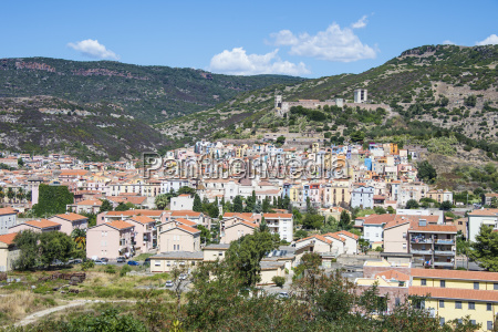 view over the town of bosa