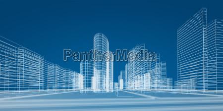 city in lines 3d rendering