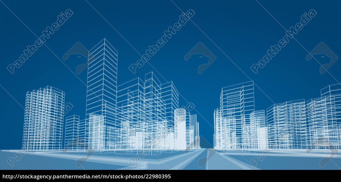 wiedergabe, des, stadtprojekts, 3d - 22980395
