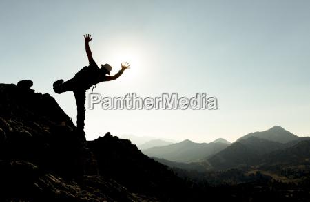 berge mensch abenteuer silhouette silhoutte schattenbild