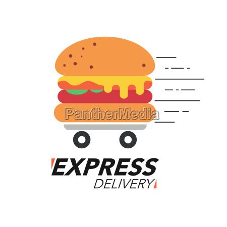 express lieferung konzept burger oder fast
