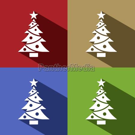 christmas tree icon with star set